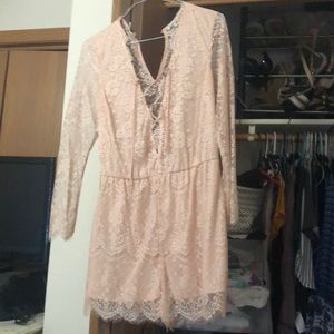 Charilette Russe pink lace romper